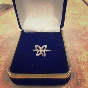 Used white gold and diamond butterfly ring